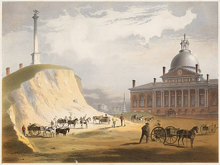 Cutting down Beacon Hill in 1811; a view from the north toward the Massachusetts State House 1800 beacon hill.jpg