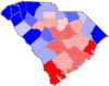 Blue counties were won by Hampton and red counties were won by Chamberlain