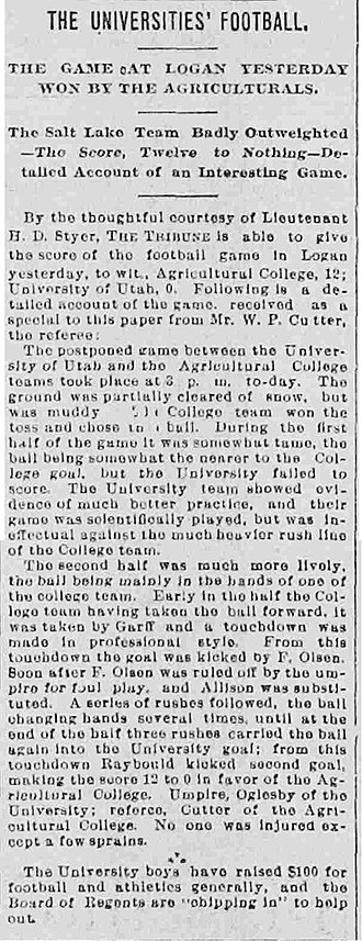 Battle of the Brothers - An article from The Salt Lake Tribune reporting on the inaugural game.