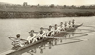 Charles Augustus Lueder - 1901 Cornell Varsity 8 oared Rowing Team - Lueder is 5th from the left