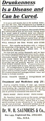 alcoholism  1904 advertisement describing alcoholism as a disease