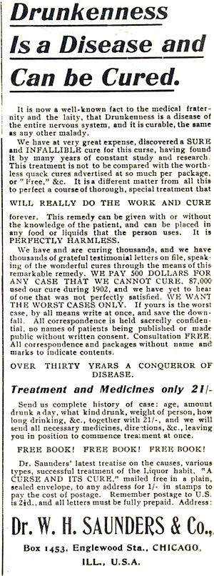1904 advertisement describing alcoholism as a disease. 1904 Claim of Alcoholism Being Disease4.jpg