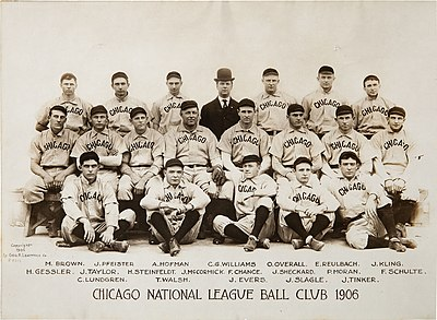 The 1906 Cubs won a record 116 of 154 games. They then won back-to-back World Series titles in 1907-08 1906 Chicago Cubs.jpg