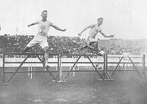 Athletics at the 1908 Summer Olympics – Men's 400 metres hurdles - Charles Bacon and Harry Hillman in the final.