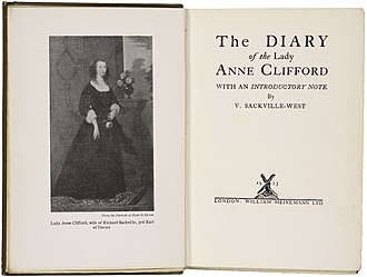 Lady Anne Clifford, 14th Baroness de Clifford - The title page of a 1923 edition of Clifford's diaries.