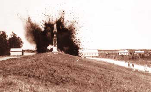 Great Mississippi Flood of 1927 - A river levee is blown up at Caernarvon in 1927