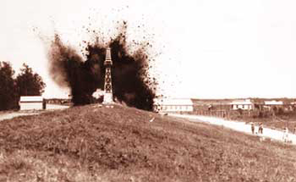 St. Bernard Parish, Louisiana - An Army Corps Photo of the levee at Caernarvon being dynamited during the floods of 1927.