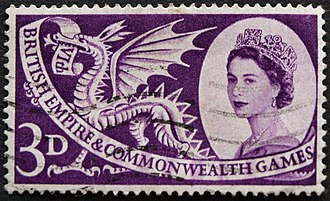 Commonwealth Games - 3pence British stamp with theme of 1958 British Empire and Commonwealth Games, Cardiff, Wales