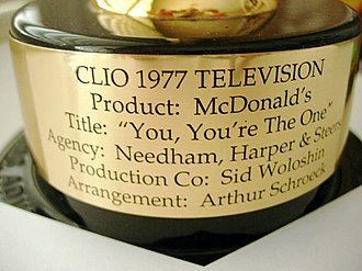 Clio Awards - Engraved plaque on the 1977 Clio award given to Artie Schroeck for arranging the music in a McDonald's jingle.