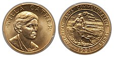 A gold medallion depicting the bust of a woman and a woman pushing a plow