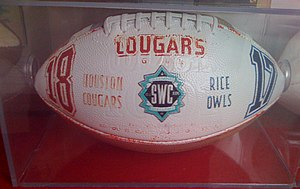 Bayou Bucket Classic - The game ball from the 1995 Bayou Bucket Classic, the last game in Southwest Conference history