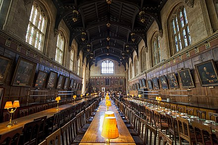 Dining hall at Christ Church. The hall is an important feature of the typical Oxford college, providing a place to both dine and socialise. 1 christ church hall 2012.jpg