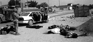 Haditha massacre incident in which 24 unarmed Iraqi men, women and children were killed by a group of US Marines
