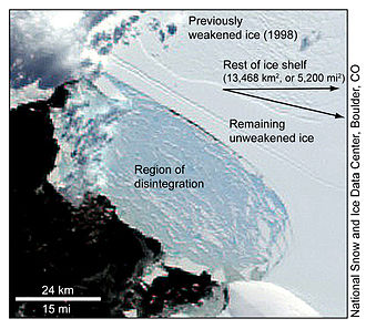 Wilkins Sound - Diagram showing region of ice preventing further collapse
