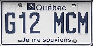 Vehicle registration plates of Quebec