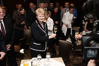 Dalia Grybauskaitė - Grybauskaitė celebrating her landslide victory in 2009.