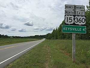 U.S. Route 360 - View north along US 15 Bus and east along US 360 Bus just south of Keysville