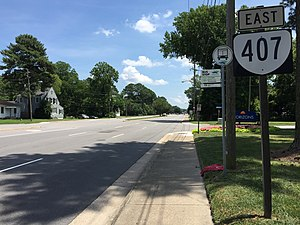 Virginia State Route 407 - View east along SR 407 in Chesapeake