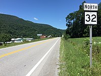 2017-07-30 13 10 04 View north along West Virginia State Route 32 (Appalachian Highway) at Mott Street in Harman, Randolph County, West Virginia.jpg