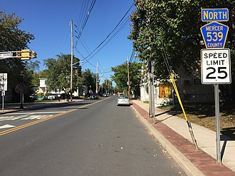 County Route 539 (New Jersey) - View north along CR 539 along Main Street in Hightstown