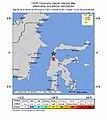 2018-09-28 Palu, Indonesia M7.5 earthquake intensity map (USGS).jpg