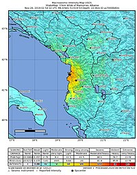 2019-11-26 Mamurras, Albania M6.4 earthquake shakemap (USGS).jpg