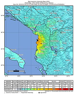 2019/11/26 Mamurras, Albânia M6.4 terremoto shakemap (USGS) .jpg