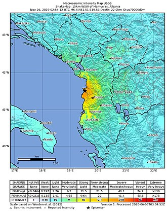 The earthquake of 26 November 2019 was the strongest to hit the country in more than four decades. 2019-11-26 Mamurras, Albania M6.4 earthquake shakemap (USGS).jpg