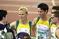 251000 - Athletics track 4x400m T46 Stephen Wilson Neil Fuller Tim Matthews Heath Francis interviewed - 3b - 2000 Sydney media photo.jpg