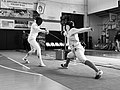 2nd Leonidas Pirgos Fencing Tournament. Advance lunge by Persefoni Pantazidi, counter-attack by Evridiki Kolletsou.jpg