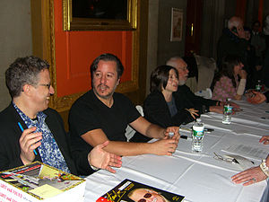 Dean Haspiel - Haspiel at the 2012 Comic New York symposium at Columbia University. Sitting with Haspiel are (left to right) Danny Fingeroth, Miss Lasko-Gross, Al Jaffee and Tracy White.