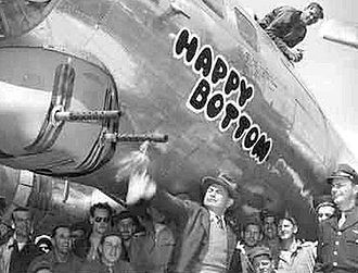 """381st Training Group - Boeing B-17G-55-BO Flying Fortress, AAF Ser. No. 42-102664, """"Happy Bottom"""" of the 532d Bomb Squadron being christened by Edward G. Robinson, 5 July 1944. Unfortunately this aircraft ditched in the English Channel on 16 July 1944"""