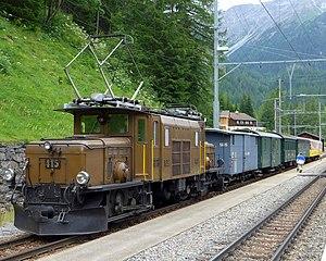 Rhaetian Railway Ge 6/6 I - 415 at Bergün-Bravuogn with a heritage train, 2014