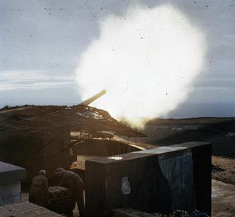 BL 8-inch Mk VIII naval gun - Gun of 428 Battery Coast Defence Artillery firing at dusk during World War II