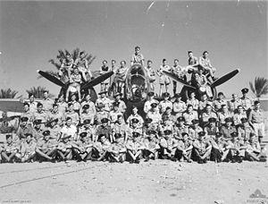 Members of 459 Squadron RAAF with one of the Squadron's Martin Baltimore aircraft in the Western Desert of Libya, 1944