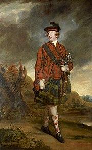 A full-length portrait of John Murry, 4th Earl of Dunmore, dressed in tartan and kilt