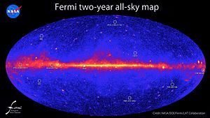 Gamma-ray astronomy - Image: 585379main 2 year all sky GT1 Ge V labels