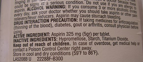 "The 5-grain aspirin. The usage guidance label on a bottle of aspirin indicates that the dosage is ""325 mg (5 gr)"". 5 grain aspirin.jpg"