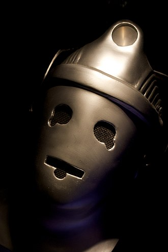 The Wheel in Space - Updated Cyberman helmet, on display at a Doctor Who exhibition
