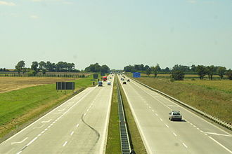 A4 autostrada (Poland) - A4 west of Wrocław with repaved concrete surface