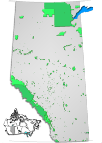 Map showing the location of Bragg Creek Provincial Park