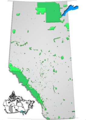 Map showing the location of Lesser Slave Lake Provincial Park
