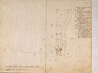 Batavia Castle - This map shows Fort Jacatra (a) and the new plan for Batavia Castle (b).
