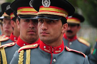 Afghan National Police - An Afghan National Civil Order Police (ANCOP) honor guard stands in formation at the Ministry of the Interior in 2010.