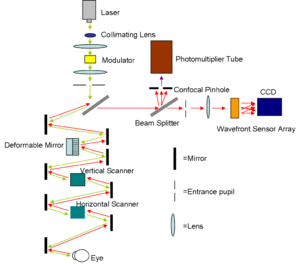Scanning laser ophthalmoscopy - Diagram of the AOSLO setup