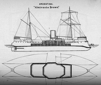 ARA Almirante Brown (1880) - Line-drawing showing the sail plan and the firing arcs of the main battery guns