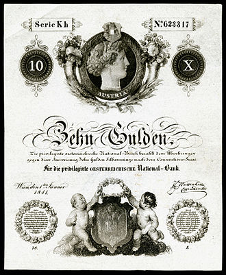 Austro-Hungarian gulden - Image: AUS A71 Austria 10 Gulden (1841)