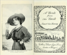 "Two pages of a book, the one on the left depicting a woman wearing a hat and the one on the right reading ""A Bride from the Bush Ernest Wm Hornung"""