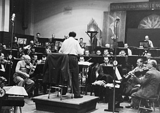 Budapest Symphony Orchestra - Hungarian Radio Symphony Orchestra in the Hungarian Radio Studio in 1959.