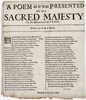 Mary Stewart, Duchess of Richmond - A Poem as it was presented to His Sacred Majesty, on the discovery of the plott. Written by a lady of quality, by Ephelia, 1679